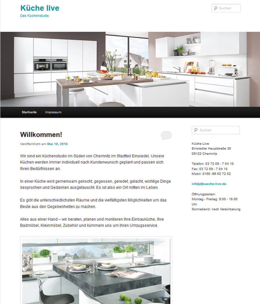 Websitenerstellung Küche live