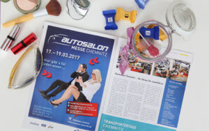 Zeitungsanzeige für Chemnitzer Autosalon in der Messe Chemnitz von trendsetter.media mit Models umgesetzt.