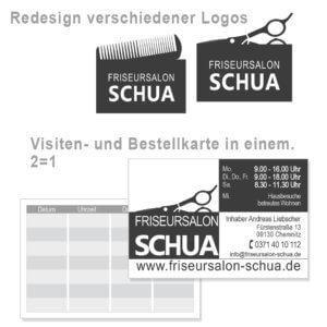 Redesign von Logo und Visitenkarte des Friseursalon Schua Chemnitz von trendsetter media werbeagentur deutschlandweit