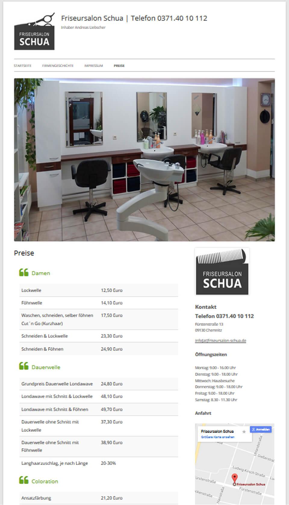 Responsives Webdesign für Friseursalon Schua Chemnitz von trendsetter media Werbeagentur