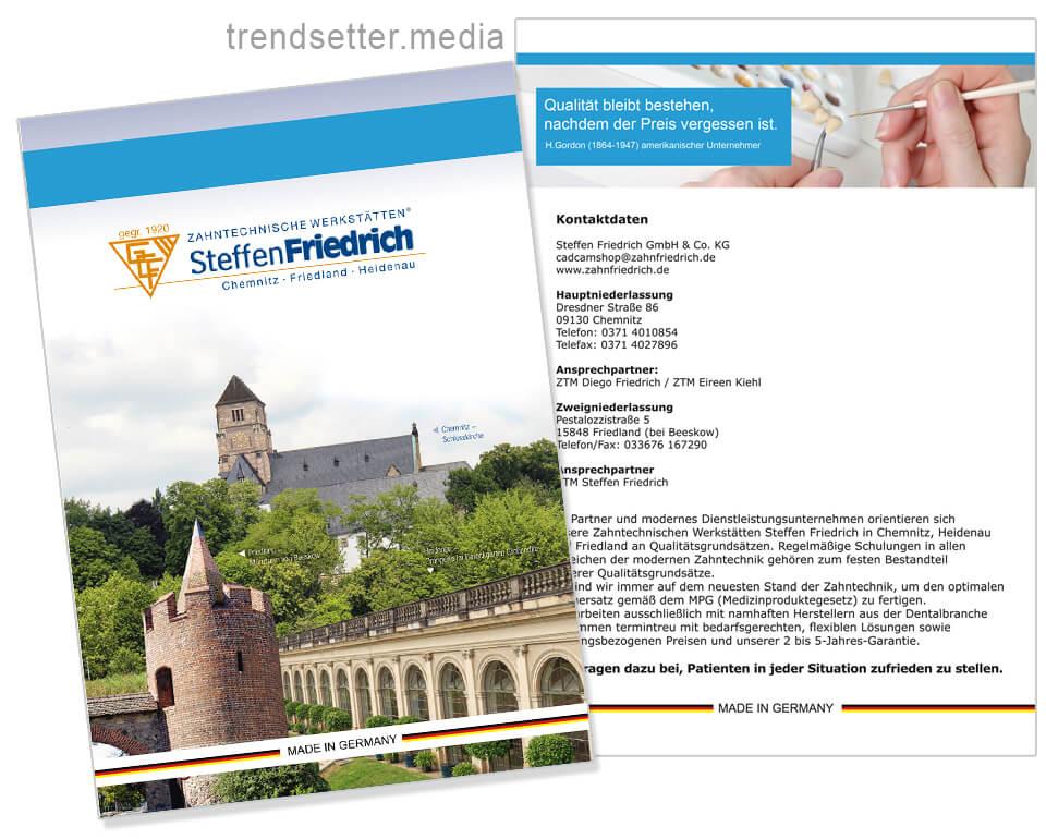 Design und Erstellung Leistungskatalog für Zahntechnische Werkstätten Steffen Friedrich von trendsetter.media Chemnitz